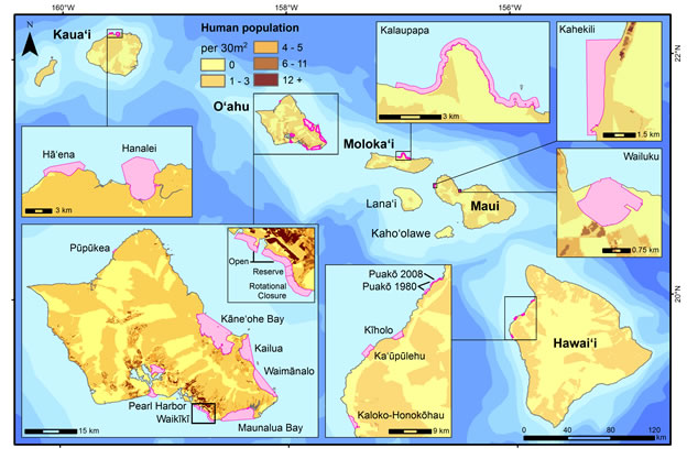 Figure 1. Survey sites where creel and/or fish flow surveys were conducted and included in this study are shown in pink.