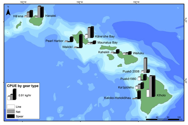 Figure 4. Catch-per-unit-effort (CPUE - kg hr-1) for the three dominant shore-based fishing gears (line, net, and spear) by survey location.
